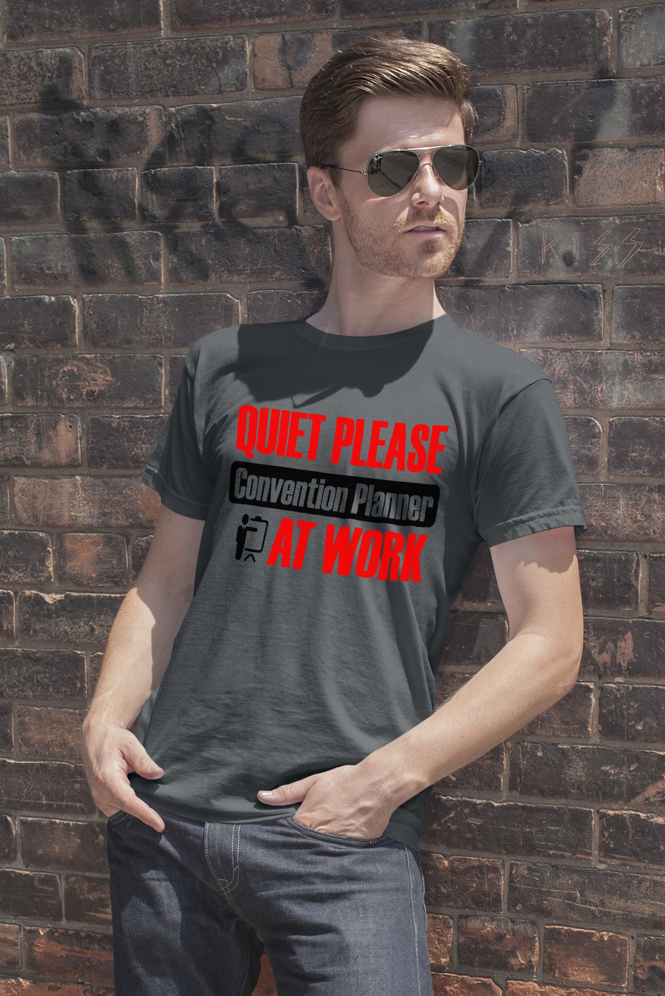 FunkyShirty Quiet Please Convention Planner at Work (Men)  Creative Design - FunkyShirty