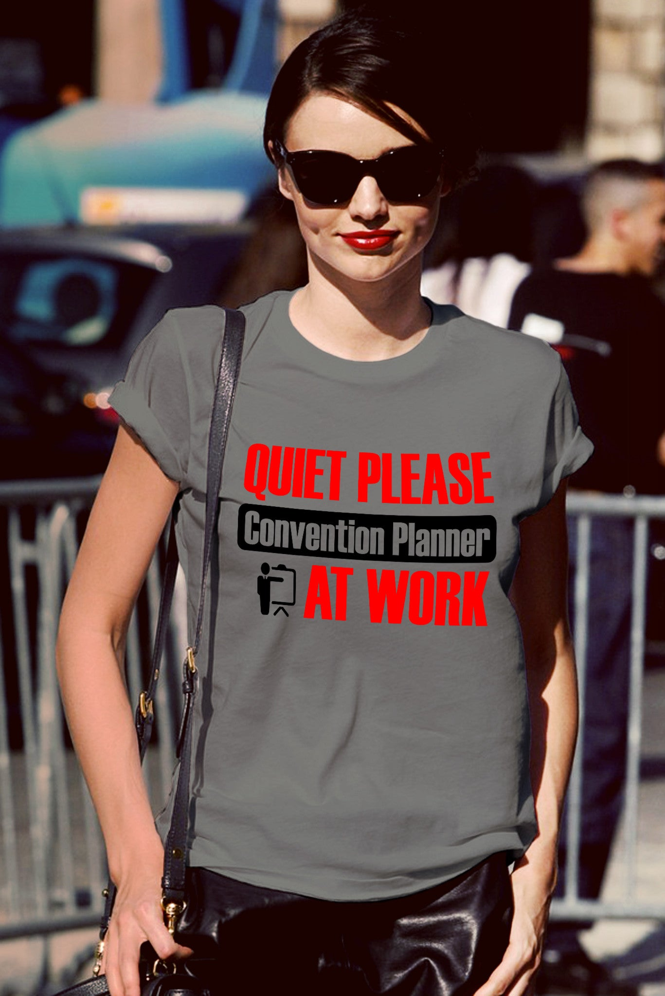 FunkyShirty Quiet Please Convention Planner at Work (Women)  Creative Design - FunkyShirty