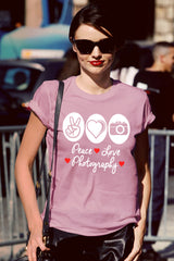 FunkyShirty Peace Love Photography ( Women)  Creative Design - FunkyShirty