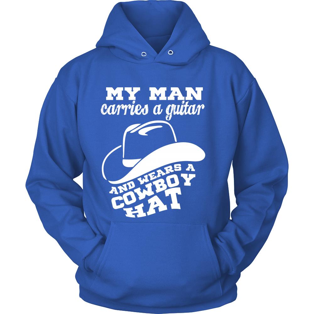 FunkyShirty My Man Carries a Guitar and wears a Cowboy Hat (Men)  Creative Design - FunkyShirty