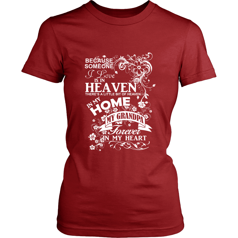 FunkyShirty Heaven Home my Grandpa Forever in my Heart (Women)  Creative Design - FunkyShirty