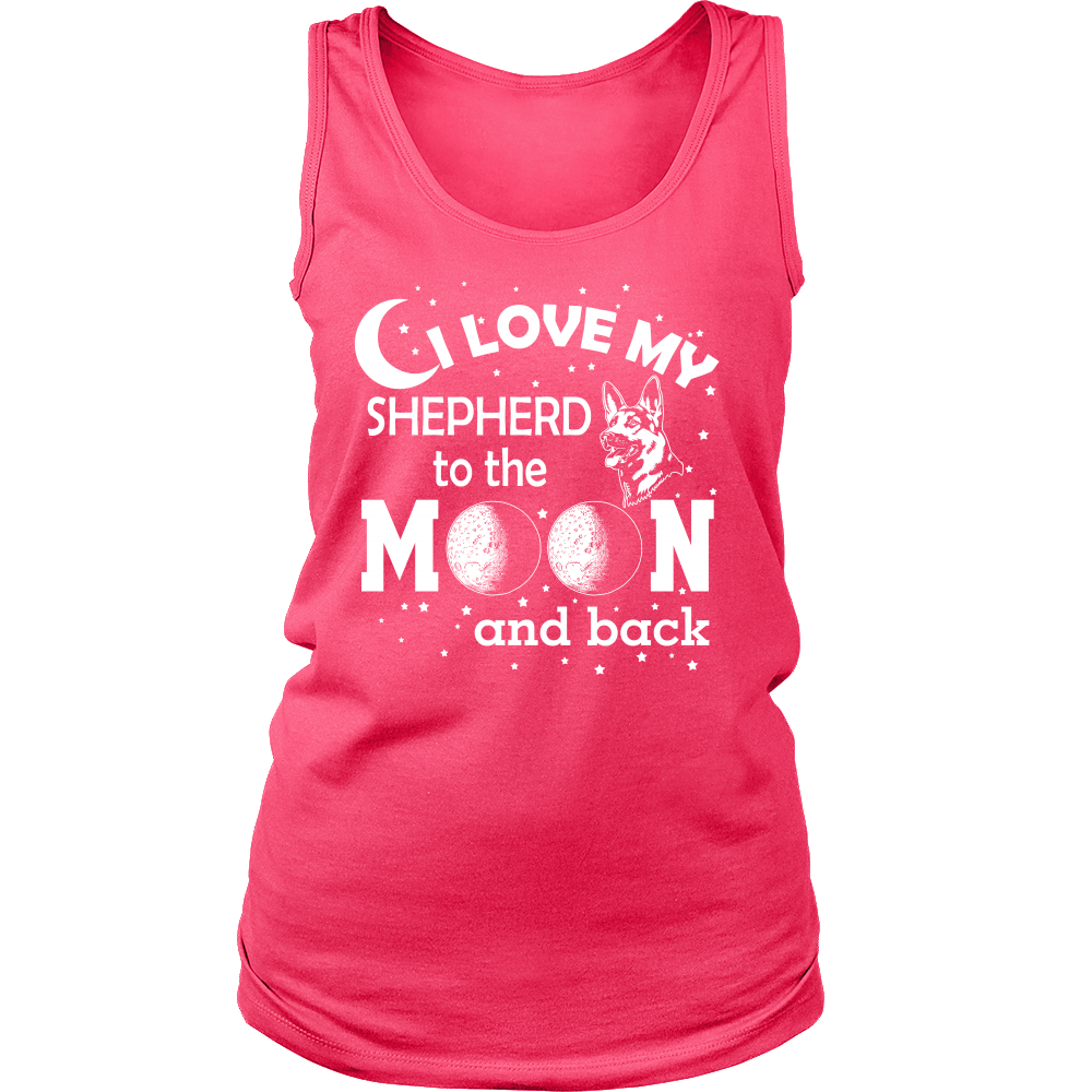FunkyShirty I Love my Shepherd to the Moon and Back (Women)  Creative Design - FunkyShirty