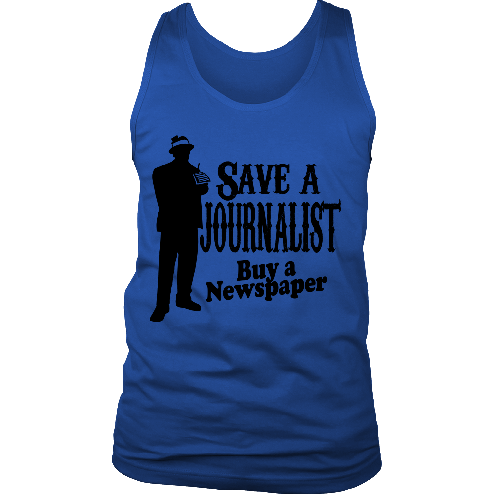 FunkyShirty Save a Journalist Buy a Newspaper (Men)  Creative Design - FunkyShirty