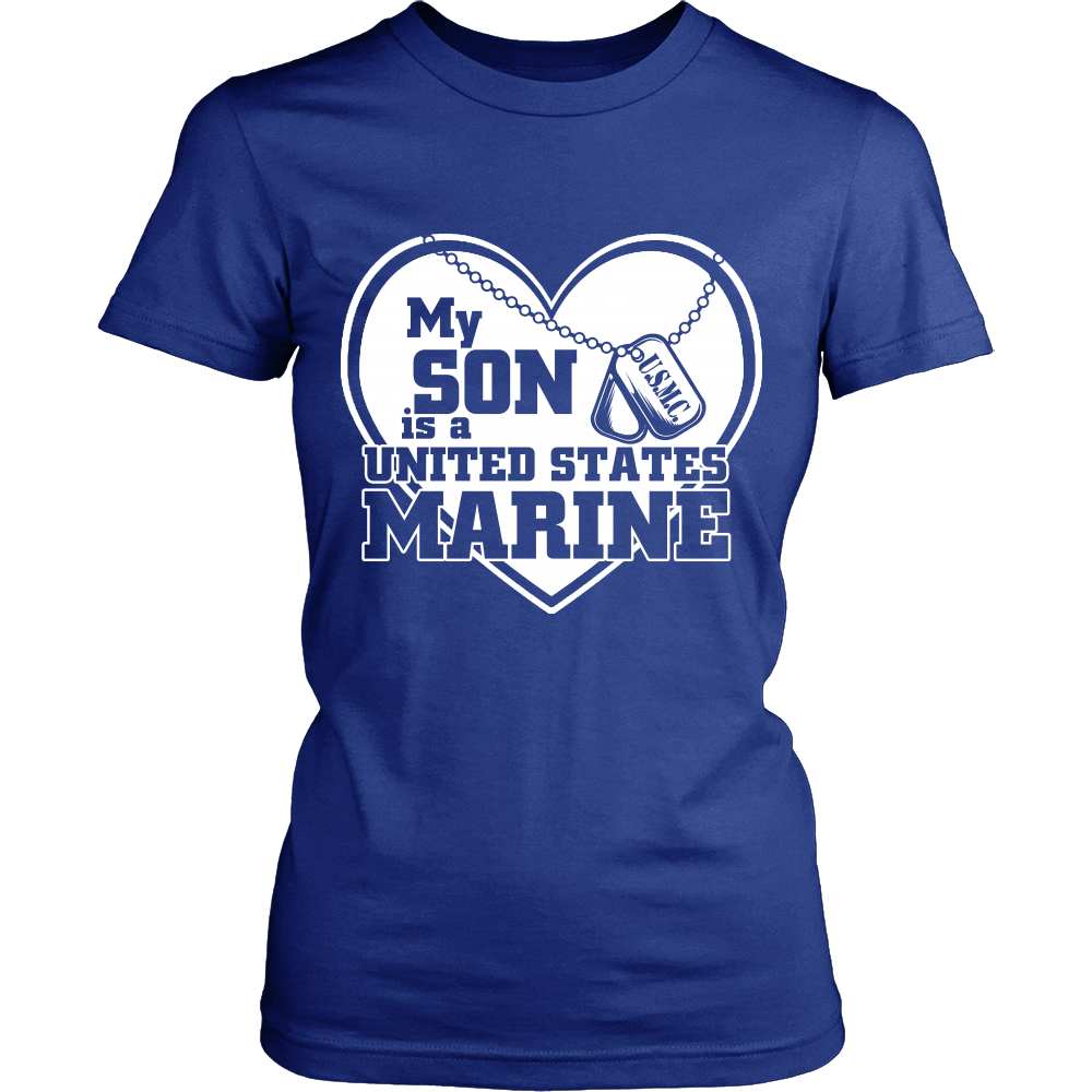FunkyShirty My Son is a United States Marine (Women)  Creative Design - FunkyShirty