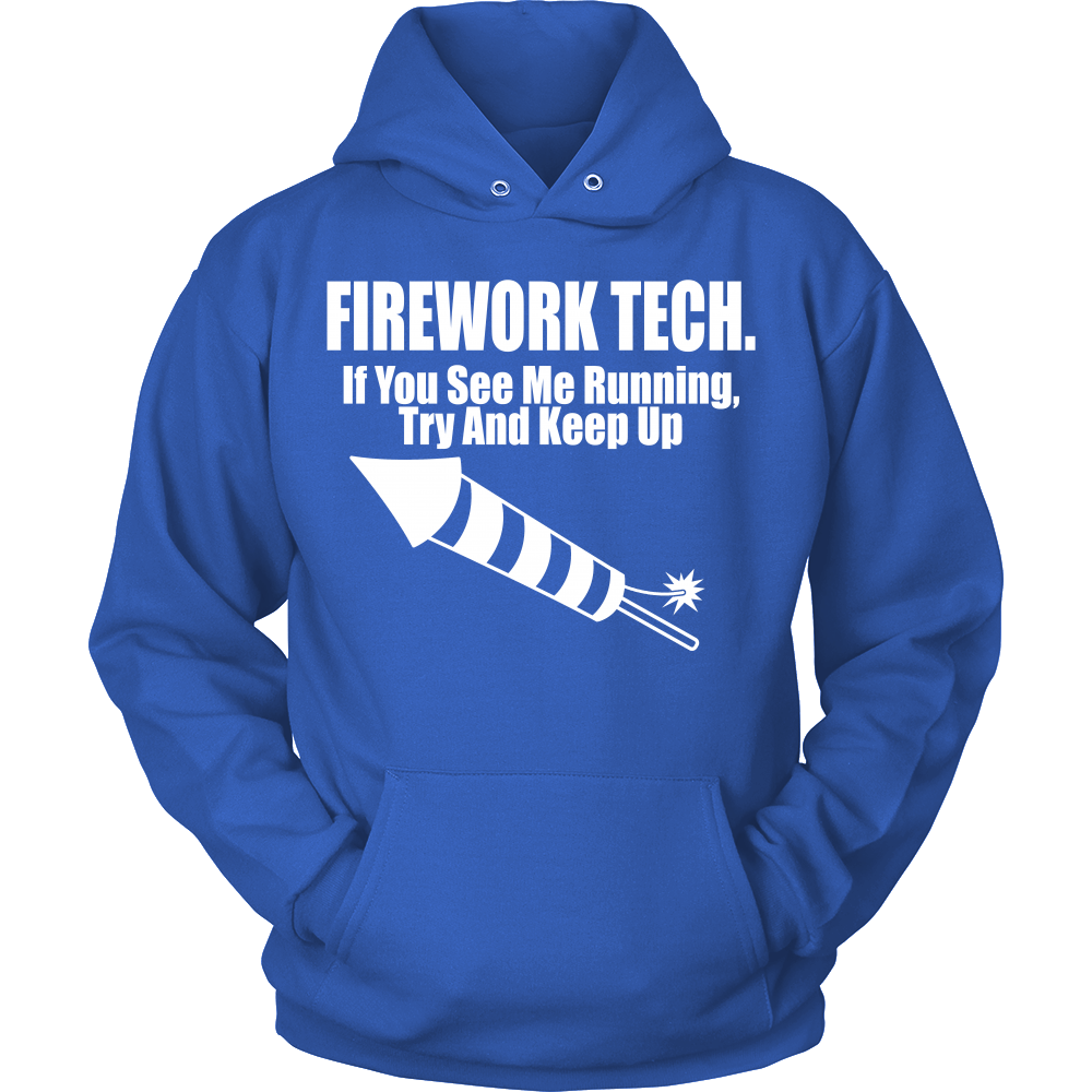 FunkyShirty Firework Tech. If you see me running try and keep up (Men)  Creative Design - FunkyShirty