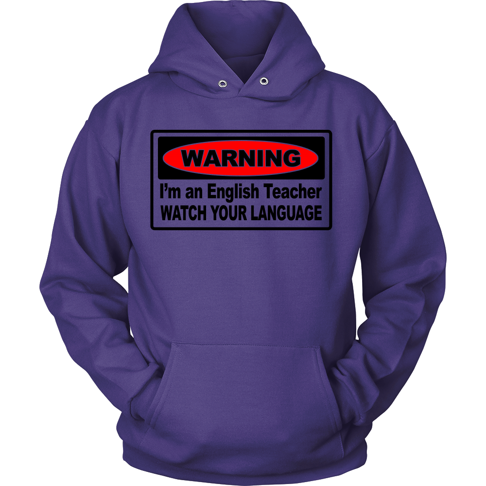 FunkyShirty Warning I'm an english teacher watch your language (Men)  Creative Design - FunkyShirty