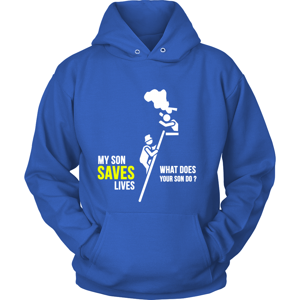 FunkyShirty My Son Saves Lives what Does your Son do? (Men)  Creative Design - FunkyShirty