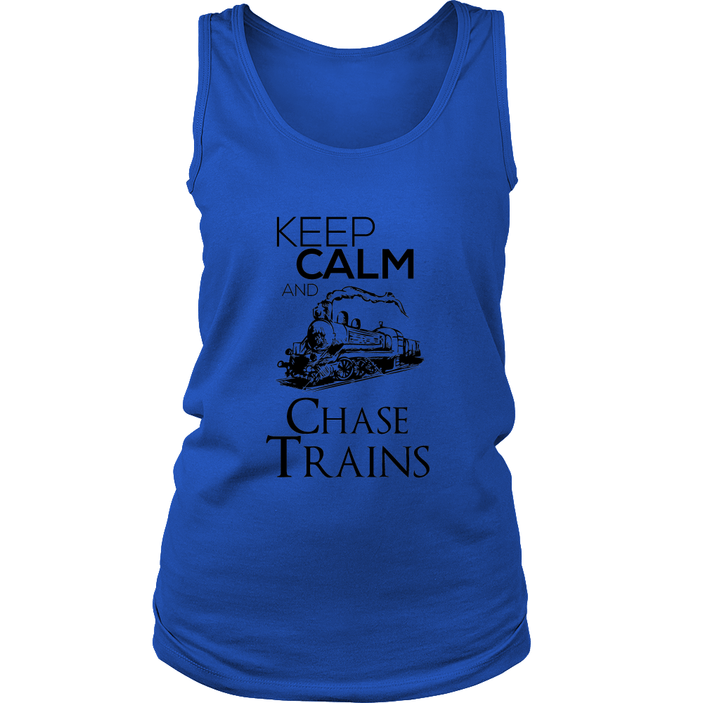 FunkyShirty Keep Calm and Chase Trains (Women)  Creative Design - FunkyShirty