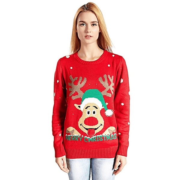 Womens Merry Christmas Funny Face Reindeer Ugly Christmas Sweater
