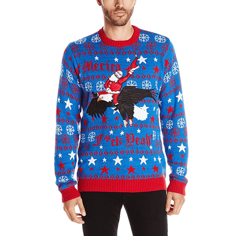 Men's Patriotic Merica Santa Ugly Christmas Sweater