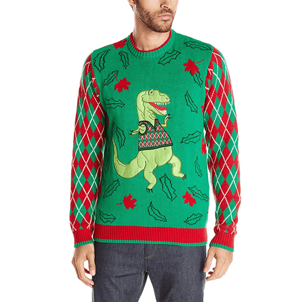 T Rex Ugly Christmas Sweater.Dancing T Rex Ugly Christmas Sweater