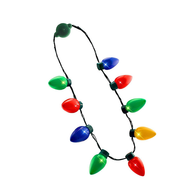 Flashing Christmas Bulbs Necklace