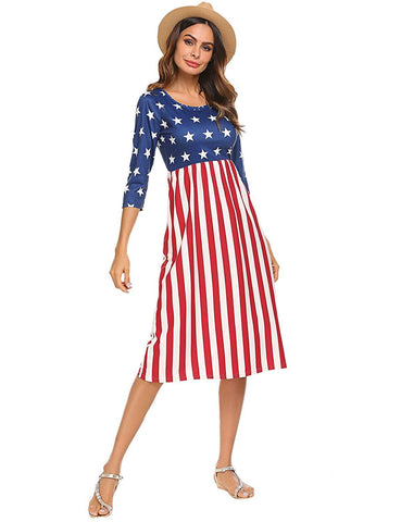 Patriotic Stars and Stripes 3/4 Sleeve Dress
