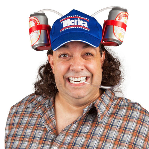 'Merica Drinking Hat with Mullet Wig