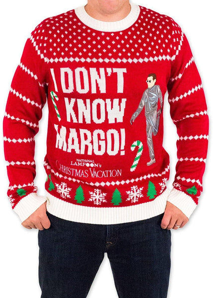 mens i dont know margo ugly christmas sweater