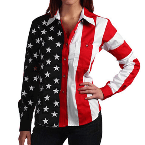 USA Flag Long Sleeve Polo Shirt