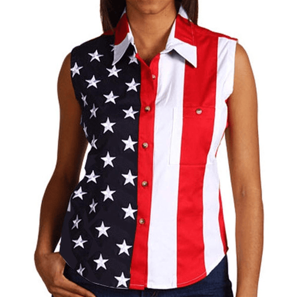 4aca4252f1f9e9 USA Flag Sleeveless Polo Shirt