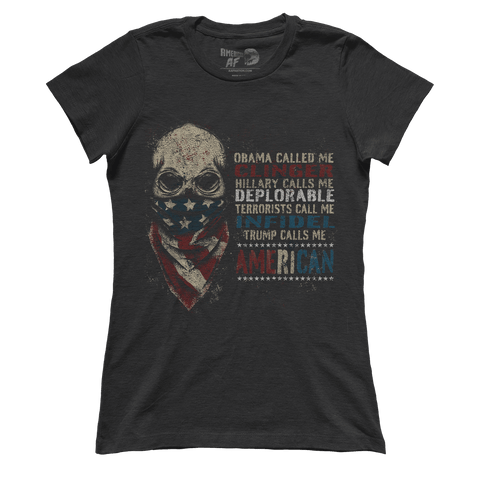 Calls Me American - Skull Flag (Ladies) - ct2