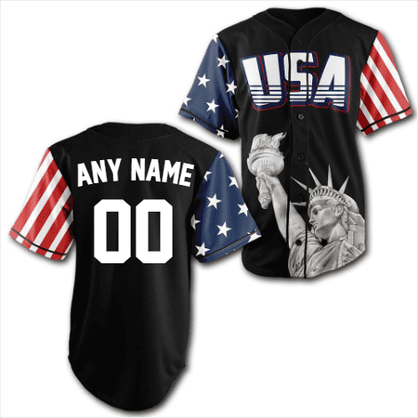 Custom Black USA Baseball Jersey