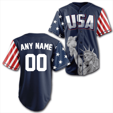 Custom Blue America Baseball Jersey