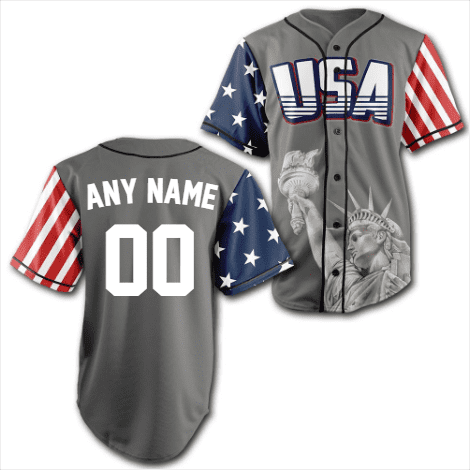 Custom Grey America Baseball Jersey