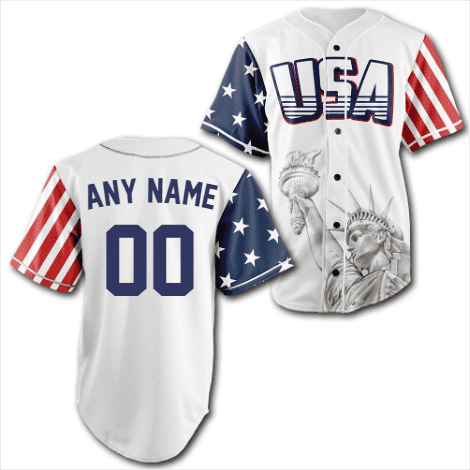 Custom White USA Baseball Jersey