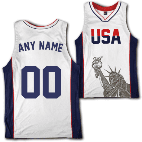 Custom White USA Basketball Jersey