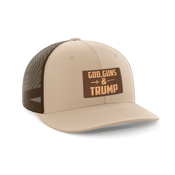 God, Guns, and Trump Leather Patch Hat