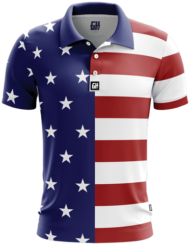 USA Flag Golf Polo