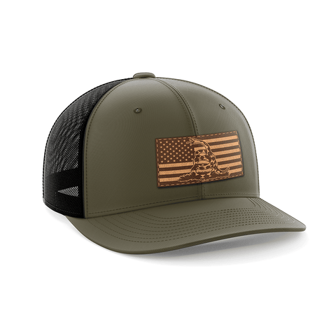 Don't Tread On Me/American Flag Leather Patch Hat