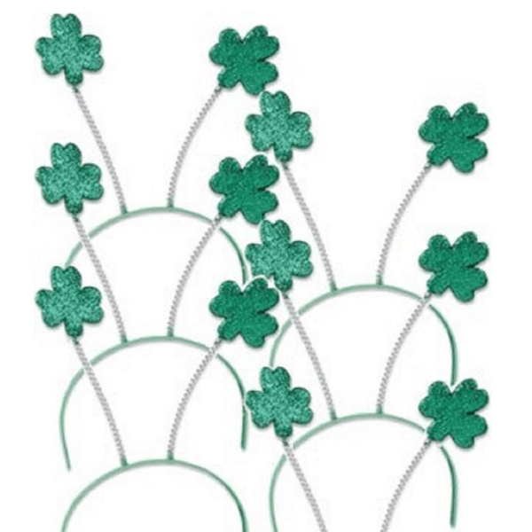 SPD - Green Shamrock Head Boppers Hats (Set of 6)