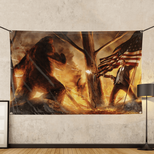 Teddy Roosevelt VS Bigfoot - Wall Flag