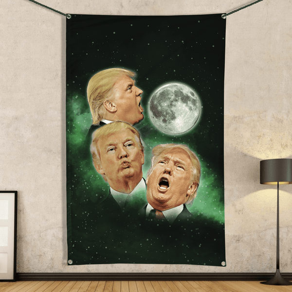 Three Trump Moon - Wall Flag
