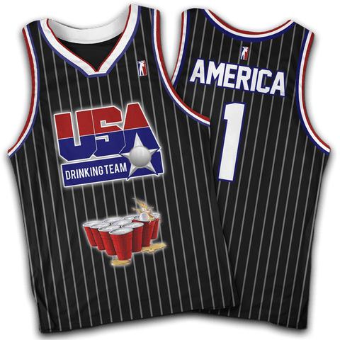 USA Drinking Team Black Basketball #1 Jersey