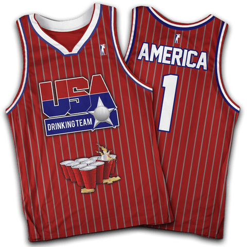 USA Drinking Team Red Basketball #1 Jersey