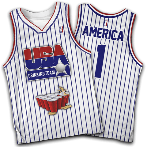 USA Drinking Team White Basketball #1 Jersey