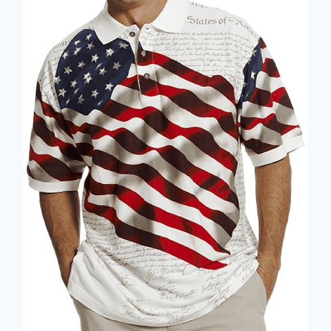 Waving USA Flag Polo Shirt - White