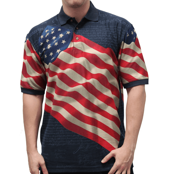 Waving USA Flag Polo Shirt