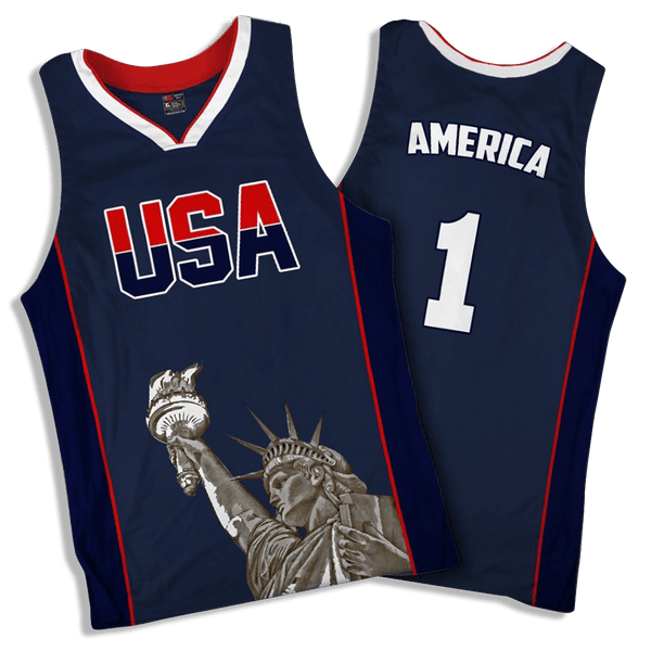 9329a4806357 Limited Edition Blue America  1 Basketball Jersey