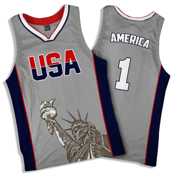 78a5aea6768 Limited Edition Grey America  1 Basketball Jersey