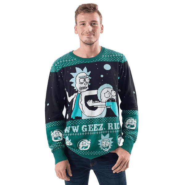 Rick And Morty Ugly Christmas Sweater.Men S Aww Geez Rick Ugly Christmas Sweater
