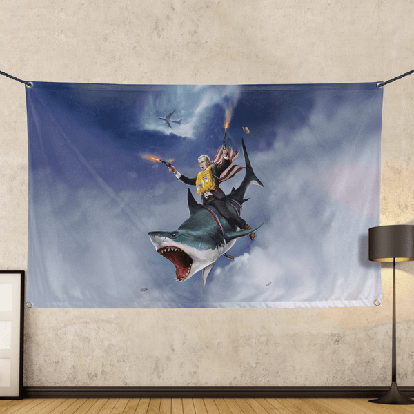 Cowboy Dubya - The Shark Rider - Wall Flag