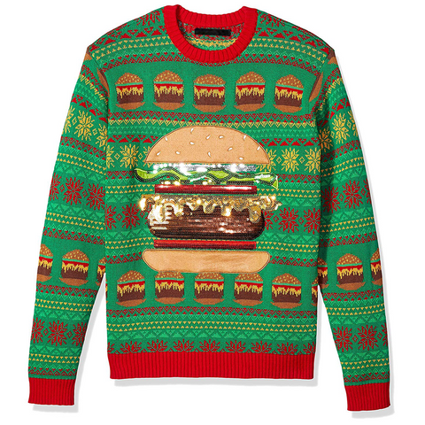 Men's Sequined Burger Ugly Christmas Sweater
