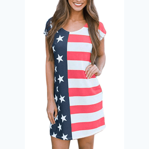 United Stripes Short Sleeve Dress