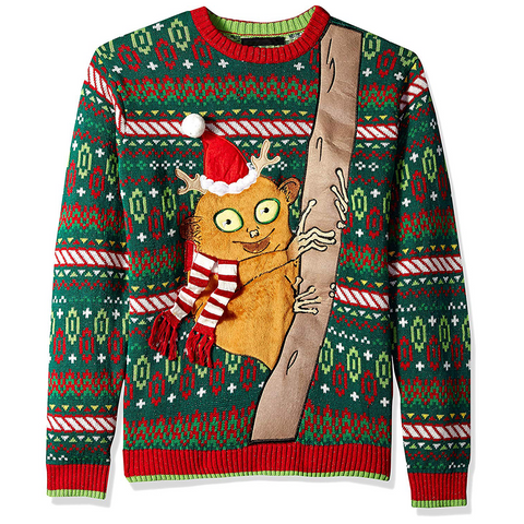 Men's Tarsier with Santa Hat Ugly Christmas Sweater