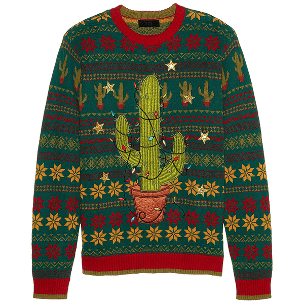 Light Up Christmas Sweater.Men S Christmas Plant Light Up Ugly Sweater