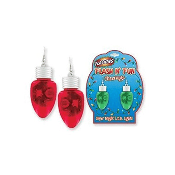 Flashing Christmas Light Bulb Earrings (2 pairs)
