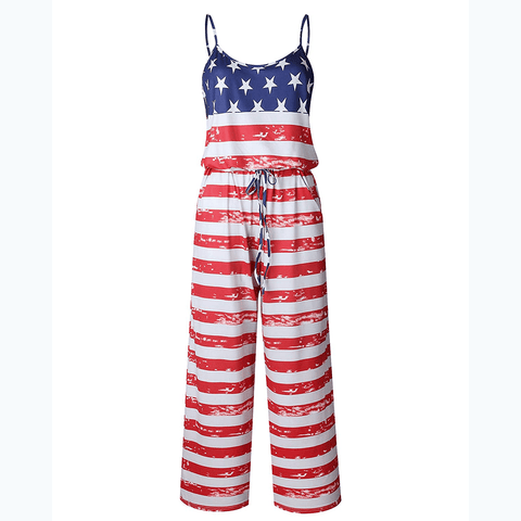 USA Flag Long Pants Romper