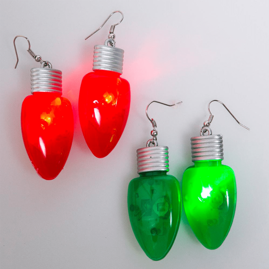 f377cd2cb Flashing Christmas Light Bulb Earrings | American AF - AAF Nation