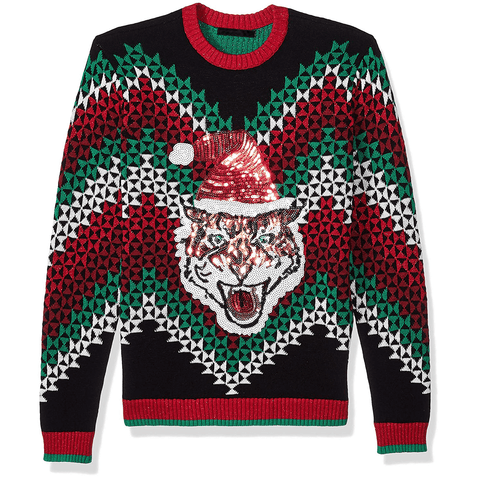 Tiger in Christmas Hat Ugly Sweater UNISEX